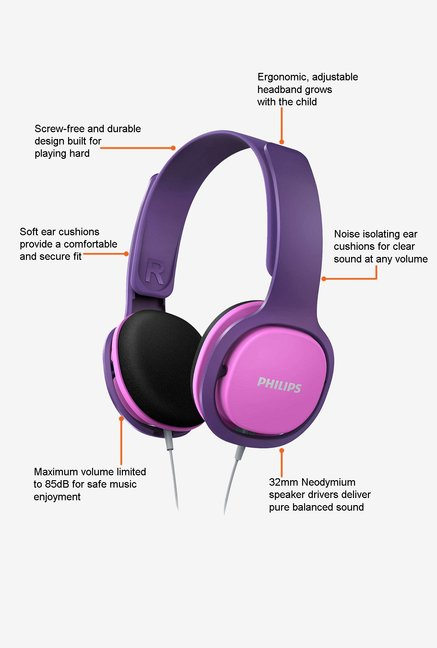 Philips SHK2000PK/00 Headphone Pink and Purple