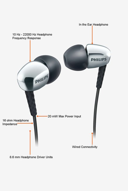 Philips SHE3900SL/00 In the Ear Headphone Silver and Black