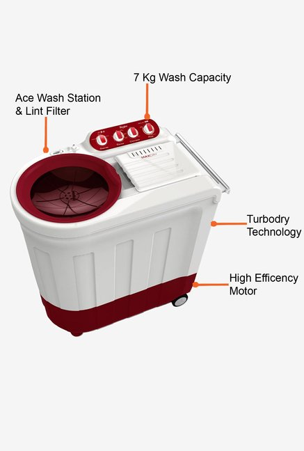 Whirlpool 7Kg Ace 7.0 Turbodry Washing Machine Coral Red