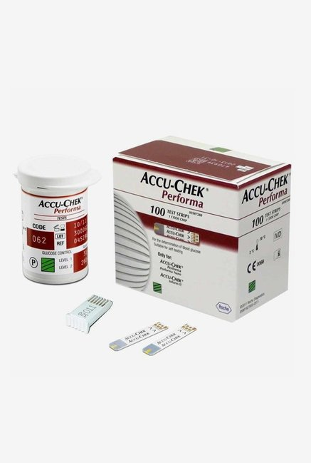 Accu Chek Performa 100 Glucometer Strip Red/White