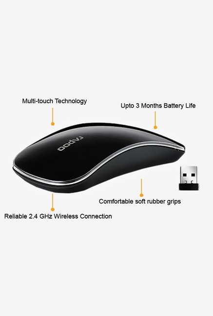 Rapoo 2.4G Wireless T6 Curved Touch Mouse Black