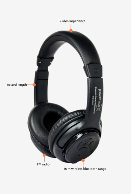 Power Ace Stereo Dynamic PBH 002 Wireless Headphone Black