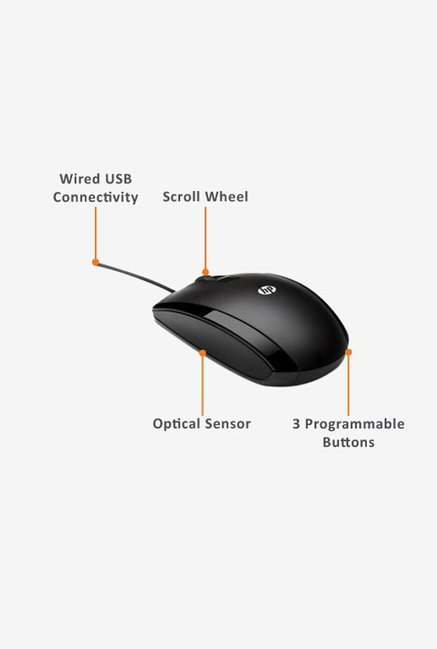 HP X500 Wired Mouse Black