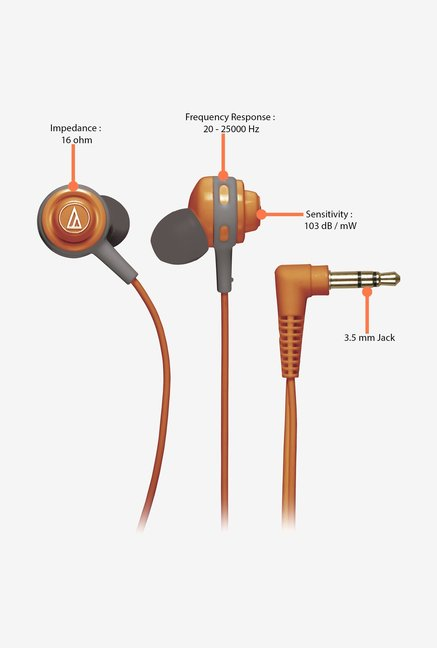 Audio-Technica COR150 In The Ear Headphones Orange
