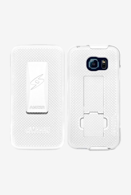 Amzer Shellster Case with Kickstand White for Galaxy S6 Edge