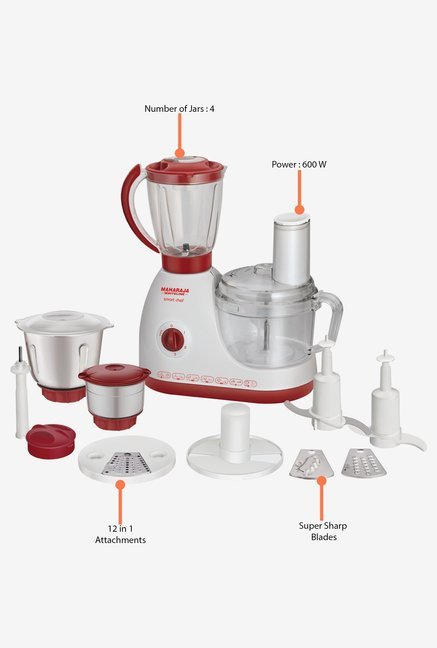 Maharaja Whiteline Smart Chef 600W Food Processor White