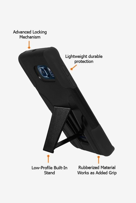 Amzer Dual Layer Hybrid Case Black for Samsung S6 edge