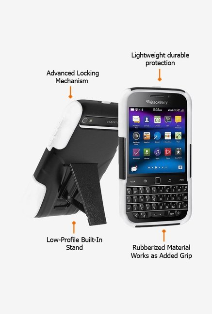 Amzer Dual Layer Hybrid Case Black & White for BB Classic