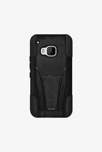 Amzer Dual Layer Hybrid KickStand Case Black for HTC One M9