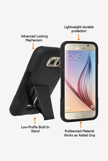 Amzer Dual Layer Hybrid KickStand Case Black for Samsung S6