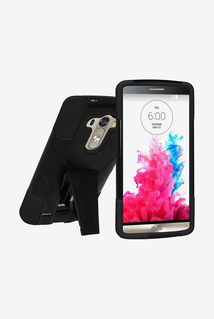 Amzer Dual Layer Hybrid KickStand Case Black for LG G3