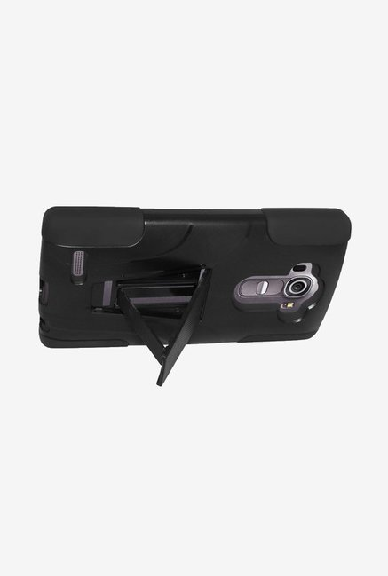 Amzer Dual Layer Hybrid KickStand Case Black for LG G4