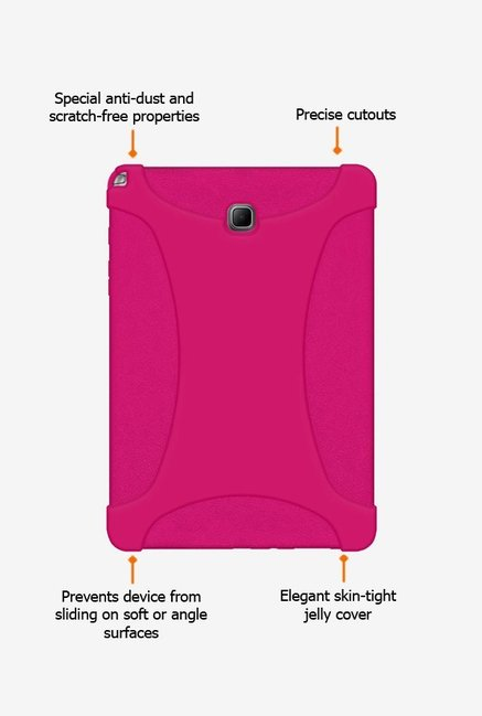 Amzer Silicone Skin Jelly Case Hot Pink for Samsung Tab A
