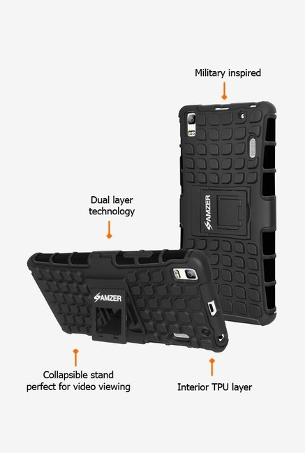 Amzer Hybrid Warrior Case Black for Lenovo A7000