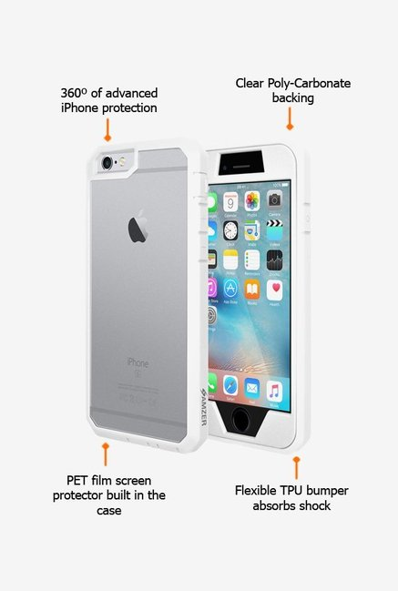 Amzer Full Body Hybrid Case White for iPhone 6