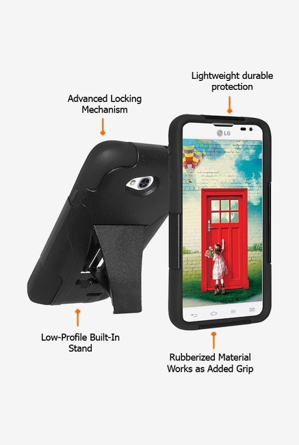 Amzer Dual Layer Hybrid KickStand Case Black for LG L70