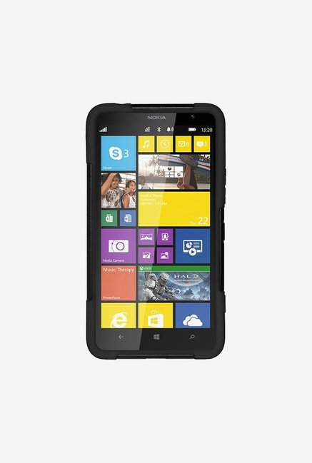 Amzer Dual Layer Hybrid KickStand Case Black for Lumia 1320
