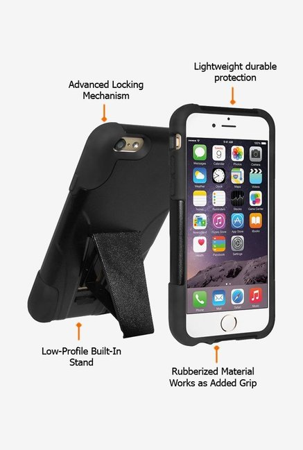 Amzer Dual Layer Hybrid KickStand Case Black for iPhone 6