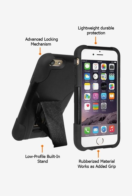 Amzer Dual Layer Hybrid KickStand Case Black for iPhone 6+
