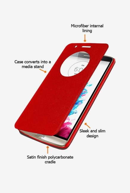Amzer Flip Case with Quick View Red for LG G3