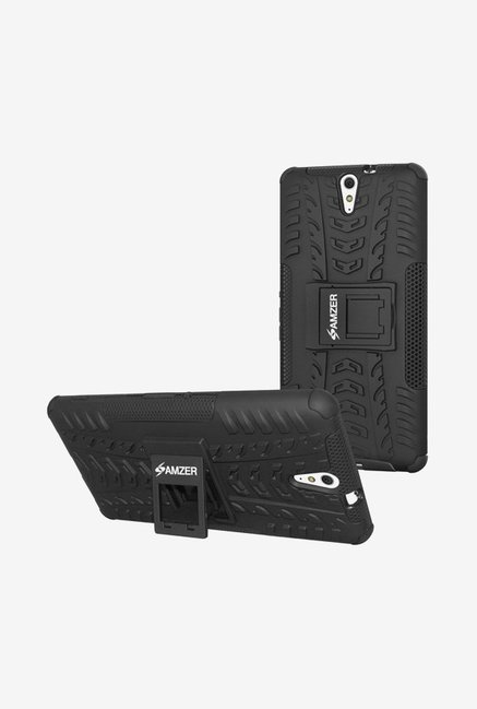 Amzer Hybrid Warrior Case Black for Xperia C5 Ultra