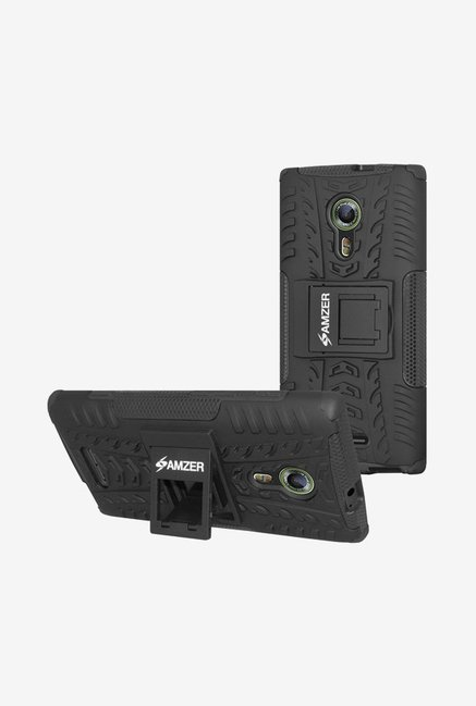 Amzer Hybrid Warrior Case Black for Alcatel OneTouch Flash 2
