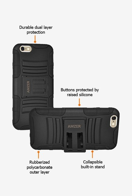 Amzer Hybrid Kickstand Case Black for iPhone 6