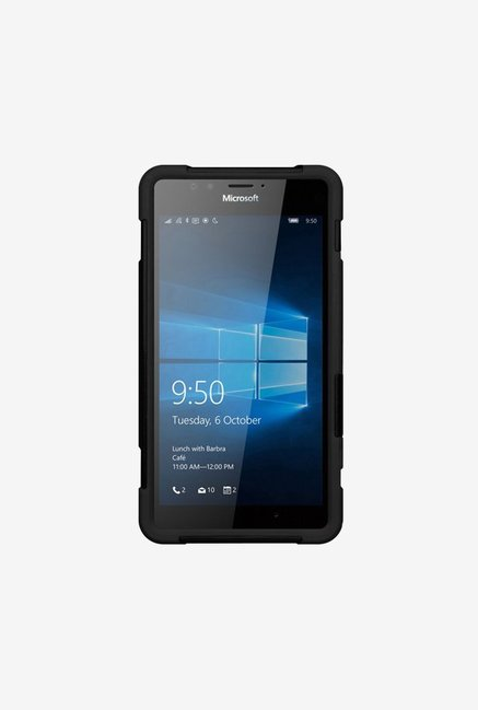 Amzer Dual Layer Hybrid KickStand Case Black for Lumia 950