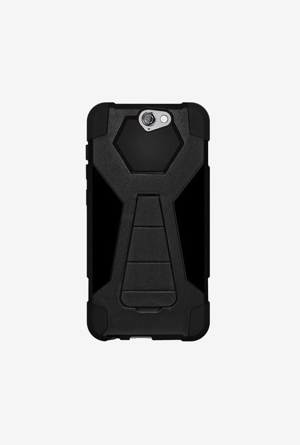 Amzer Dual Layer Hybrid KickStand Case Black for HTC One A9