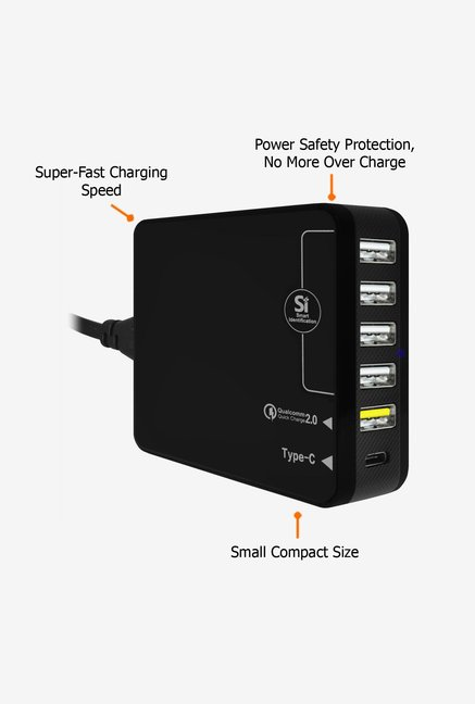 Amzer 35W 6-Port USB Charger Black