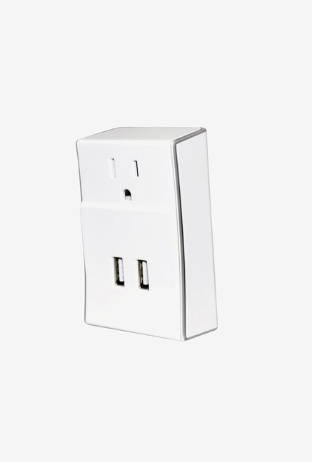 Amzer Dual USB PLATE extender Power Wall Charger White