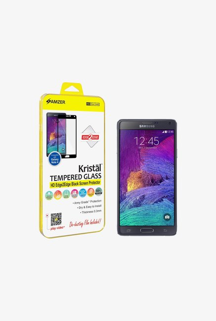 Amzer Kristal Tempered Glass Black for Samsung Note 4