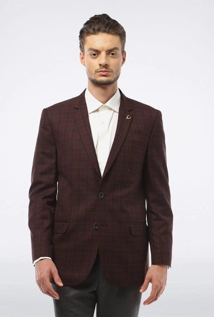 Allen Solly Maroon & Black Checks Casual Blazer