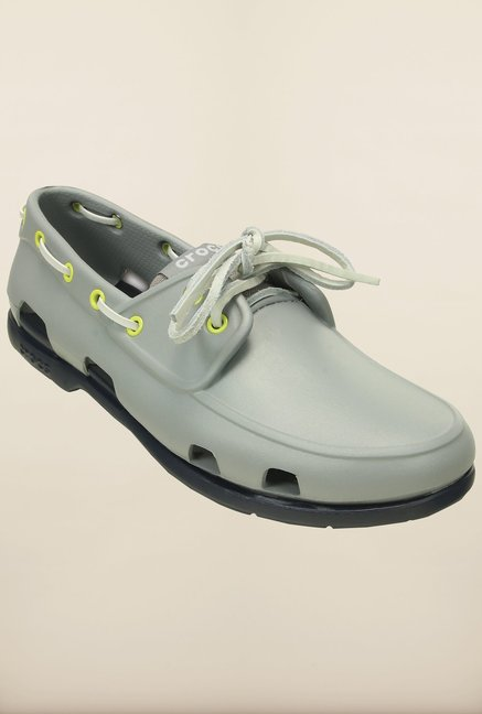Crocs Beach Line Light Grey & Navy Boat Shoes