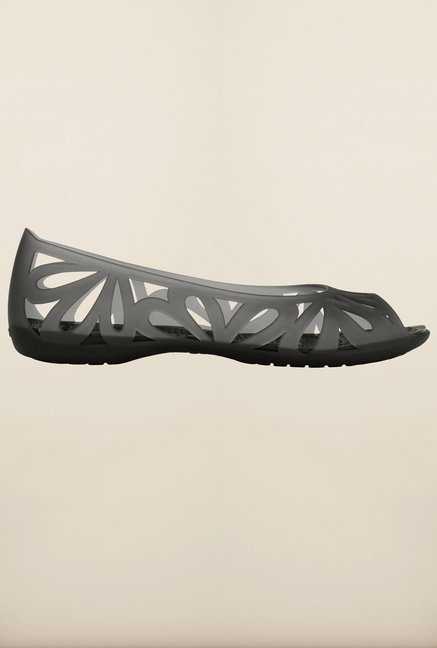 Crocs Adrina III Grey & Black Peeptoe Sandals