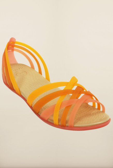 Crocs Huarache Coral & Grapefruit Cross Strap Sandals