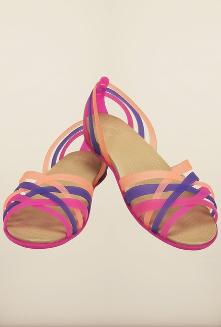 Crocs Huarache Vibrant Violet & Melon Cross Strap Sandals