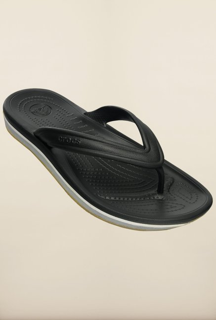 Crocs Retro Black & Light Grey Flip Flops