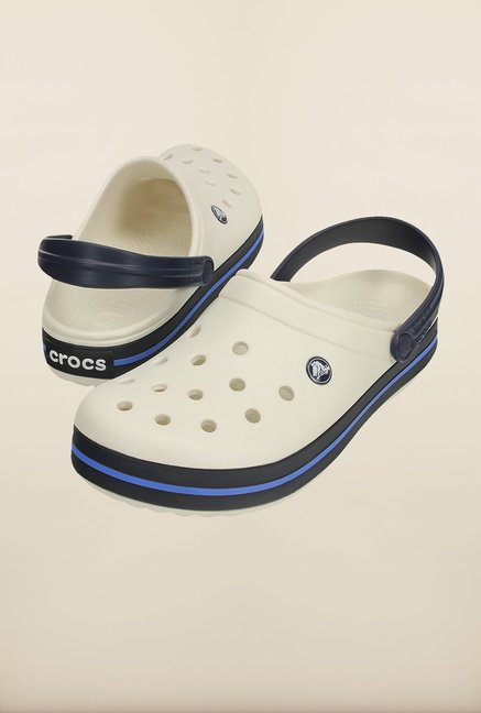 Crocs Crocband Oyster & Navy Clogs