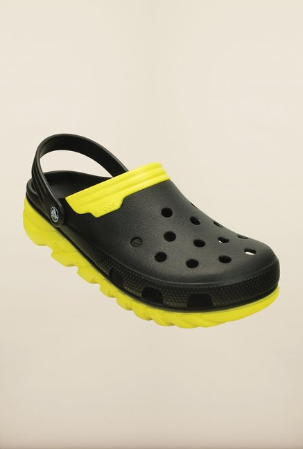 Crocs Duet Max Black & Yellow Clogs