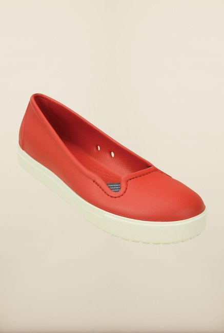 Crocs CitiLane Flame Red and White Pumps