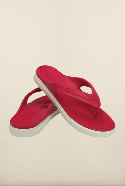 Crocs CitiLane Raspberry & White Flip Flops