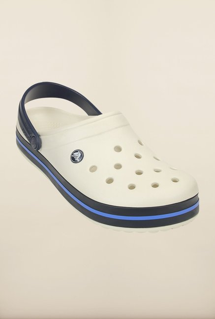 Crocs Crocband White & Navy Clogs