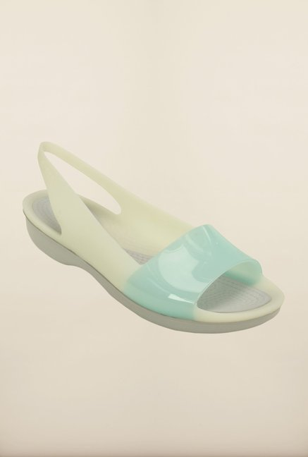 Crocs ColorBlock Pearl White & Blue Sling Back Shoes