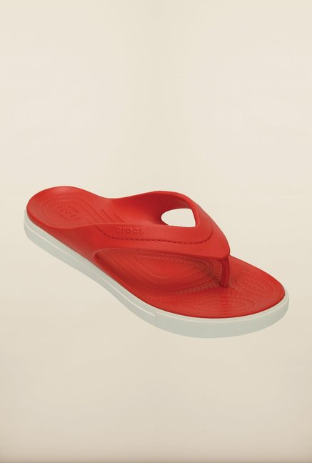 f0799322f5c04e Buy Crocs CitiLane Flame Red   White Flip Flops Online at best price ...