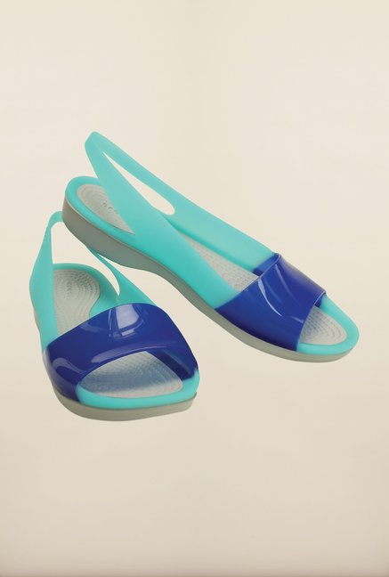 Crocs ColorBlock Cerulean Blue Sling Back Shoes