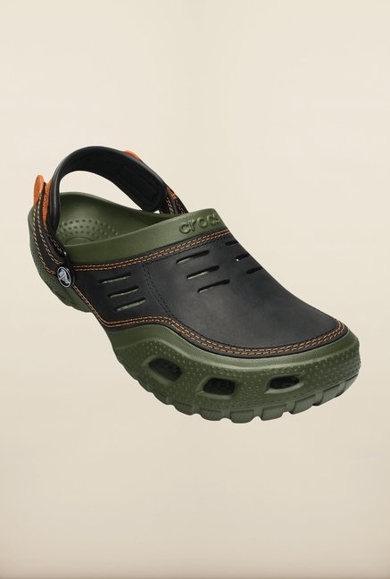 07244d5987ab Buy Crocs Yukon Sport Army Green   Black Clogs Online at best price ...