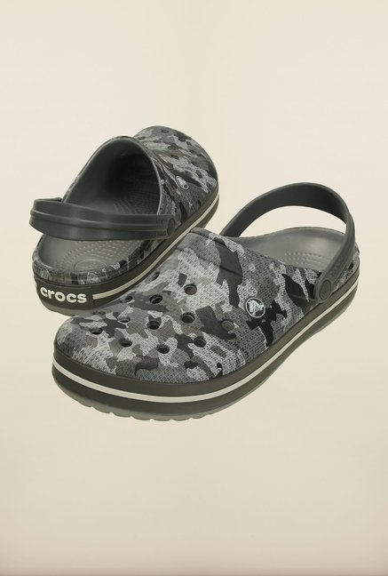 Crocs Crocband Camo Charcoal Grey Clogs
