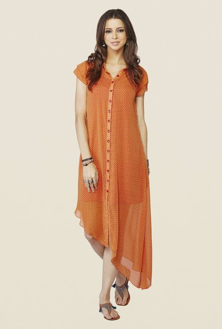 Global Desi Orange Printed Marigold Tunic
