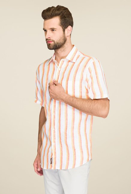 Raymond Orange Striped Linen Shirt